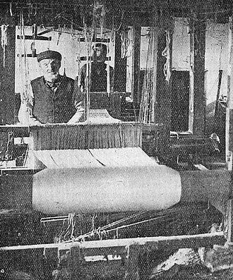 Keith, Moray - Alexander (Sandy) Ogilvie (1791–1871) at his loom in his shop in Land Street