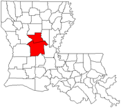 Map of Louisiana highlighting the Alexandria metropolitan area