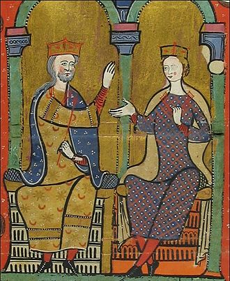 Sancha of Castile, Queen of Aragon - Sancha of Castile and her husband Alfonso II of Aragon in the 12th-century manuscript Liber Feudorum Maior