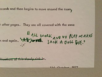 The Shining (film) - Screenplay from The Shining at LACMA exhibit.