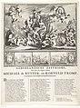 Allegorie ter ere van Michiel de Ruyter en Cornelis Tromp en hun overwinningen in de zeeslagen in de jaren 1672 en 1673 Nederlantsche Zeetriomf, Ter eeren der dappere Helden, Michaël de Ruiter, en Kornelis Tromp, Overwi, RP-P-OB-82.360.jpg