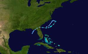 Subtropical Storm Alpha (1972) - Image: Alpha 1972 track