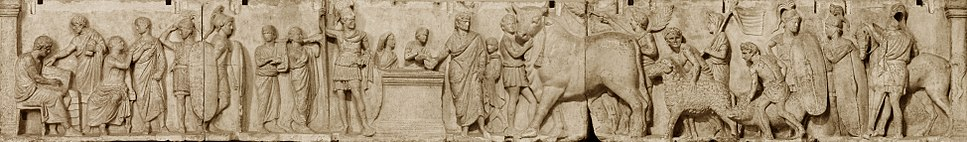 "Census frieze from the so-called ""Altar of Domitius Ahenobarbus"", with the taking of the census (at left) and the procession of the suovetaurilia. The tall warrior standing at the altar is sometimes identified as the god Mars himself"