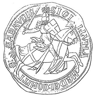 Crosses in heraldry - Seal of Amadeus V, Count of Savoy (1249–1323), showing a knight on horseback displaying the Savoy cross on his shield, ailets (shoulder-pads) and caparison (horse covering)