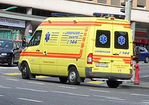Emergency medical services - An ambulance in Lausanne (Switzerland) marked with multiple Stars of Life (representing emergency medical services).