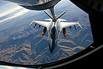 An F-16 Fighting Falcon gets refueled by a KC-15R Stratotanker (051006-F-1522M-009).JPG