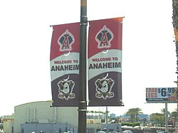 Street banners promoting the Ducks and Angels.