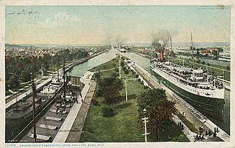 Soo Locks - Image: Anchor Line Steamer in the Locks (NBY 9947)