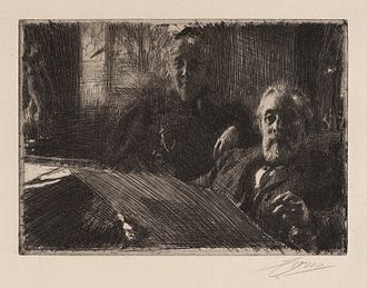 Pontus Fürstenberg - Etching of Anders Zorn featuring Pontus and Göthilda Fürstenberg