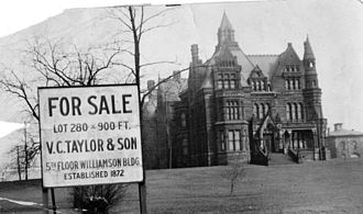 Euclid Avenue (Cleveland) - Samuel Andrews mansion. He was one of the founders of Standard Oil along with JD Rockefeller. He sold his shares early...in 1874 and did not reap the benefit the others did. This home was built in 1882-85 and was demolished in 1923.