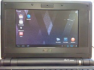 Android (operating system) - Android-x86 running on an ASUS EeePC netbook; Android has been unofficially ported to traditional PCs for use as a desktop operating system.