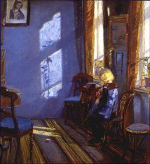 100 Great Paintings - Ancher: Sonnenschein im blauen Zimmer