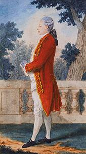 Retrato de corpo inteiro em cores de um aristocrata do século 18