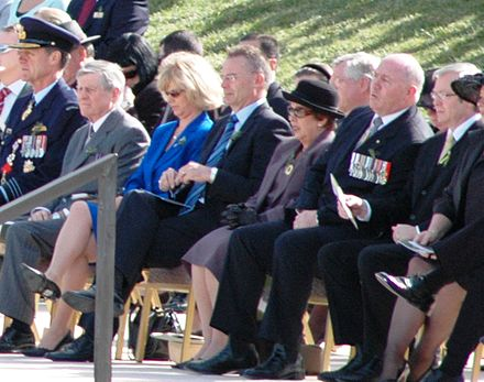 In attendance at the 2008 Anzac Day National Service at the Australian War Memorial in Canberra are Angus Houston, Chief of the Defence Force (Australia) (left), Murray Gleeson then Chief Justice of the High Court of Australia, Jon Stanhope, Chief Minister of the Australian Capital Territory (centre), Peter Cosgrove, immediate past Chief of the Defence Force (Australia) (second from right), and Kevin Rudd, Prime Minister of Australia (right). Anzac Day Canberra 2008 Dignitaries.jpg
