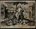Apollo, god of literature, plays his harp; a town goes about Wellcome V0007569.jpg