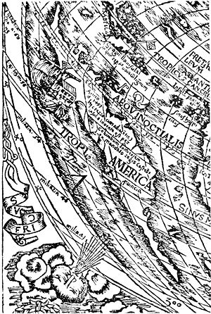 Petrus Apianus - Portion of a map by Petrus Apianus showing the New World (1520). Narrative and critical history of America, Volume 2 by Justin Winsor.