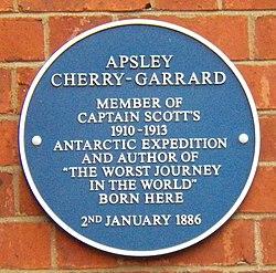 Photo of Apsley Cherry-Garrard blue plaque