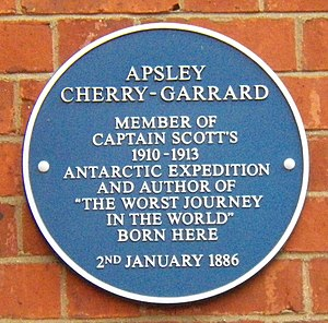 Apsley Cherry-Garrard - Plaque at the birthplace of Cherry-Garrard in Bedford