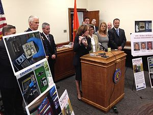 Kathleen Rice - Kathleen Rice at a press conference, announcing the arrest of four ticket vending machine scammers (2013)