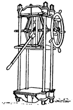 Drawing of a Boomer Press, a tall, four-legged device with a long handle and a wheel near the top.