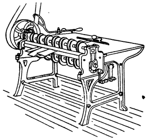 Line drawing of a table-like machine, with many wheels along the near edge, connected to a a larger, belt-powered wheel.