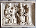 Arte campionese, rilievo con la madonna col bambino, guerriero e santi, xiv secolo.JPG