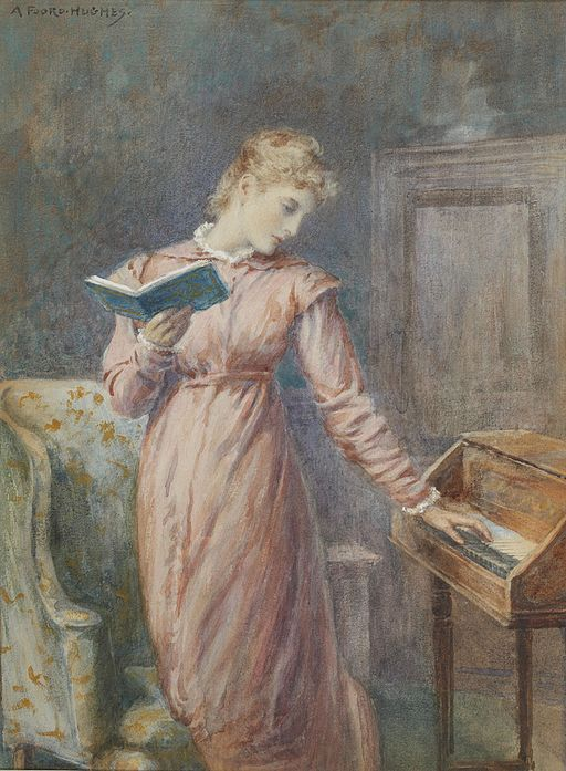 Arthur Foord Hughes A lady reading while playing the spinet