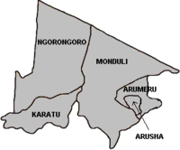 Location of Arusha City in Arusha Region