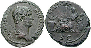 Africa (Roman province) - A Roman coin celebrating the province of Africa, struck in AD 136 under the Emperor Hadrian. The personification of Africa is shown wearing an elephant headdress.