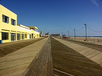 The Wrestler (2008 film) - Scenes where Rourke and Wood's characters try to bond were filmed on the Asbury Park boardwalk.