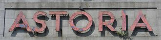 Astoria Theatre, Brighton - This original Art Deco-style sign (pictured in August 2013) survived on the exterior.