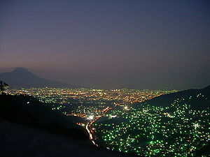 Crime and violence in Latin America - San Salvador City at night
