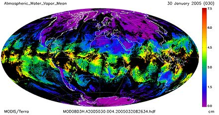 MODIS/Terra global mean atmospheric water vapor in atm-cm (centimeters of water in an atmospheric column if it condensed) Atmospheric Water Vapor Mean.2005.030.jpg