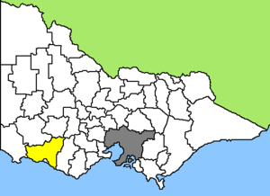 Map of Victoria/Australia, LGA of Moyne Shire ...