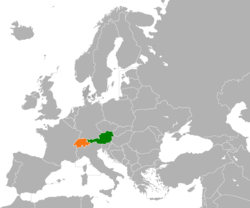 Map indicating locations of Austria and Switzerland