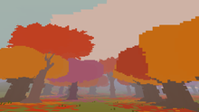 Dense pixelated trees are colored red and orange. Leaves cover the ground.