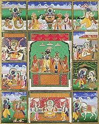 Vishnu with his 10 avatars (incarnations): Fis...
