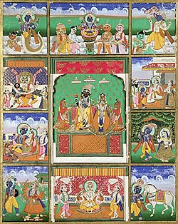 The ten avatars of Vishnu, (Clockwise, from Left upper corner) Matsya, Kurma, Varaha, Vamana, Krishna, Kalki, Buddha, Parshurama, Rama and Narasimha, (in centre) Krishna