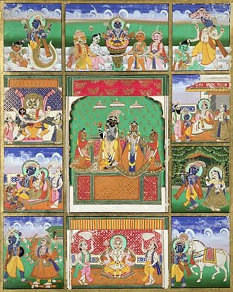 Hindu deities - The ten avatars of Vishnu, (Clockwise, from top left) Matsya, Kurma, Varaha, Vamana, Krishna, Kalki, Buddha, Parshurama, Rama and Narasimha, (in centre) Radha and Krishna. Painting currently in Victoria and Albert Museum.