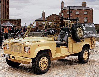 Land Rover Wolf - A static British Army WMIK on display.