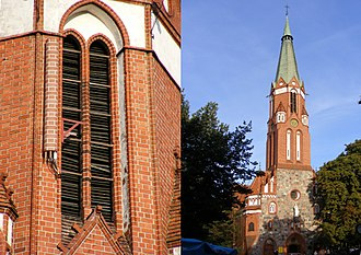 Node B - BTS and Node B antenna mounted on the church tower, Sopot, Poland