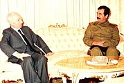 Baath Party founder Michel Aflaq with Iraqi President Saddam Hussein in 1988