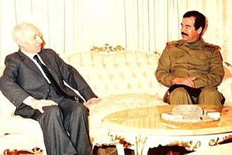 Ba'athist Iraq - Saddam Hussein (right) talking with founder of Ba'athism and Ba'ath Party leader Michel Aflaq in 1988.