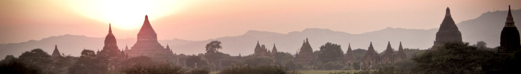 A view over the temples of Bagan at dawn.
