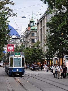 trams in the city of Zürich in Switzerland