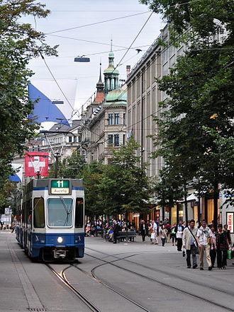Trams in Zürich - Bahnhofstrasse, Zürich's premier shopping street