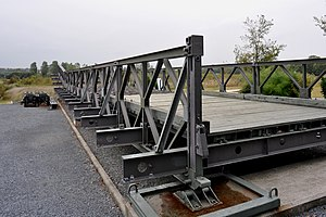 Bailey bridge - The transoms, side-panels and stringers of a Bailey bridge section at the Memorial Pegasus museum in Ranville, Calvados, France, can all be clearly seen