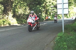 Ballacraine - Careful braking for the right-hander at the crossroads