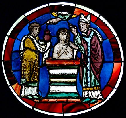 Scene of baptism. Stained glass, Paris, last quarter of the 12th century. From the Sainte-Chapelle of Paris. Baptism Sainte-Chapelle MNMA Cl23717.jpg