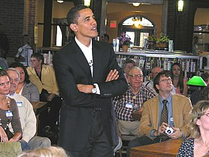 U.S. Sen. Barack Obama campaigns in Onawa, Iow...